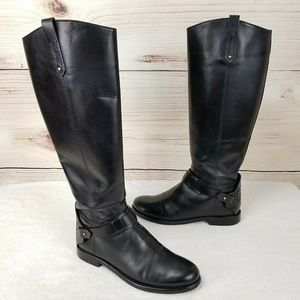 TORY BURCH Black Leather Riding Equestrian Boots